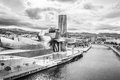 Exterior of the guggenheim museum and iberdrola tower bilbao spain october on october in bilbao spain is a Royalty Free Stock Photo