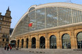Exterior of liverpool lime street railway station facade with old british rail logo Stock Photography