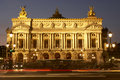 Exterior Of Paris Opera House At Night Royalty Free Stock Photo