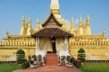 Exterior of the Pha That Luang stupa in Vientiane, Laos. Royalty Free Stock Photo