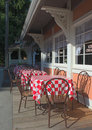 Exterior tables of a restaurant Royalty Free Stock Photo