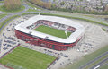Exterior view of the az afas stadion from above alkmaar netherlands april on april in alkmaar netherlands is Royalty Free Stock Photos