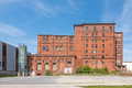 Exterior view of a decayed factory building made of brick Royalty Free Stock Photo