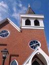 Exterior view of a red brick church Royalty Free Stock Photos