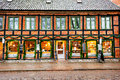 Exterior windows and facade of coffee shop where people rest and socialize during christmas season lund sweden december in sweden Royalty Free Stock Image
