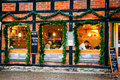 Exterior windows and facade of coffee shop where people rest and socialize during christmas season lund sweden december in sweden Stock Photo