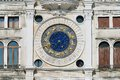 Exteriror detail of the torre dell orologio clock tower in venice italy Royalty Free Stock Images