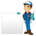 Exterminator holding blank sign