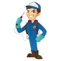 Exterminator holding pest sprayer