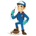Exterminator killing bug holding pest sprayer