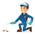 Exterminator killing bugs using pest sprayer