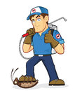Exterminator or pest control clipart picture of an cartoon character Royalty Free Stock Photography