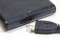 External hard drive with usb cable Royalty Free Stock Photo