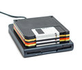 External usb floppy disk drive with disks isolated Royalty Free Stock Photo