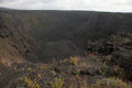 Extinct volcano looking into an on the big island of hawaii Royalty Free Stock Photography