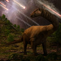 Extinction of the dinosaurs an apatosaurus looks upon meteors raining down that would precede larger asteroid strike that would Stock Image