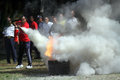 Extinguish the fire campus security officers trained to in city of solo central java indonesia Royalty Free Stock Images