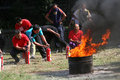 Extinguish the fire campus security officers trained to in city of solo central java indonesia Royalty Free Stock Photo