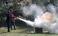 Extinguish the fire campus security officers trained to in city of solo central java indonesia Stock Photo