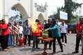 Extinguish the fire people received training to on a burning gas canister in city of solo central java indonesia Stock Photos