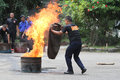 Extinguish the fire security officers trained to in a parking lot in city of solo central java indonesia Royalty Free Stock Photos