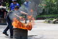 Extinguish the fire security officers trained to in a parking lot in city of solo central java indonesia Stock Image