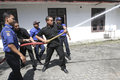 Extinguish the fire security officers were training to in city of solo central java indonesia Royalty Free Stock Photography