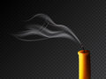Extinguished candle with smog on dark transparent background. Vector realistic illustration. Royalty Free Stock Photo