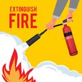 Extinguisher in hands. Firefighter with fire red extinguisher extinguish big flame vector attention placard Royalty Free Stock Photo