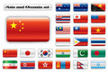 Extra glossy button flags - Asia and Oceania Stock Photo