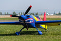 Extra shark aerobatic plane with teeth on flight line Stock Image