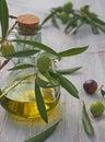 Extra-virgin olive oil bottle and green olivas