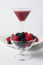 Extract of berries smoothie with raspberries and blackberries Stock Photography