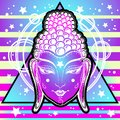 Extraordinary Buddha face in neon colors over sacred geometry and cosmic vibrant background. Enlightenment, transformation.