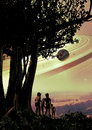 Extraterrestrial natives couple of with a child watching the landscape of their planet Stock Image