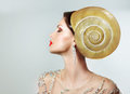 Extravagancy. Outlandish Extreme Hairstyle. Peculiar Woman with Snail as Headwear Royalty Free Stock Images