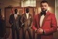Extravagant stylish man in tailor studio Royalty Free Stock Photo