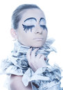 Extravagant woman with dress paper news. Royalty Free Stock Image