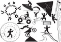 Extream sport illustration extreme sports icon set Stock Photography