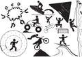 Extream sport illustration extreme sports icon set Stock Photography
