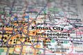 Extreme close-up of Kansas City, Missouri in a map Royalty Free Stock Photo