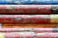Extreme closeup image of show jumping poles stacked at the showground Royalty Free Stock Photo