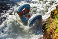 Extreme donuts alloy buble dangerous rapids of the river belaya the threshold axes caucasus Stock Photo