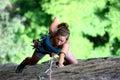 Extreme female climber Royalty Free Stock Photo