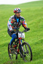 Extreme mountain bike contest Stock Images