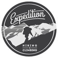 Extreme outdoor adventure badge. High mountains illustration.