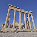 Extreme perspective of erechtheion ancient temple Royalty Free Stock Photography
