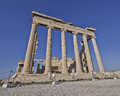 Extreme perspective of erechtheion ancient temple Stock Photo