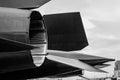 Extreme powerful jet engine turbo engine turbine black white Royalty Free Stock Photo