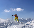 Extreme skier climbs to top mountain Royalty Free Stock Image